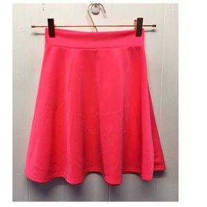 Charlotte Russe | Solid Hot Pink Skater Skirt EUC